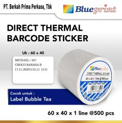 Direct Thermal Sticker  Label Stiker BLUEPRINT 60x40x1 Line Isi 500