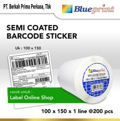 Sticker Label Pengiriman Online Semi Coated BLUEPRINT 100x150mm 200Pcs