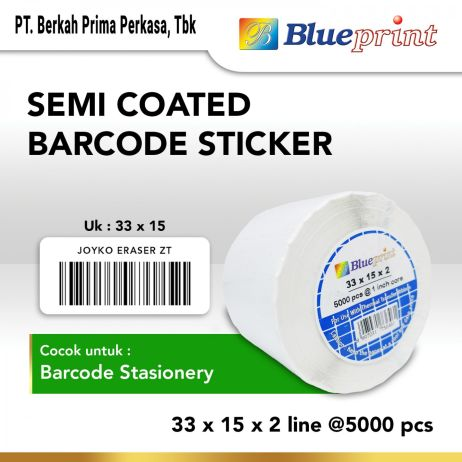 Sticker Label Sticker label Barcode 33x15mm 2 Line Semi Coated BLUEPRINT Core 1 isi 5000 Pcs  bp scs33152 slide 1