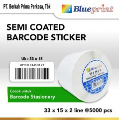 Sticker label Barcode 33x15mm 2 Line Semi Coated BLUEPRINT Core 1 isi 5000 Pcs