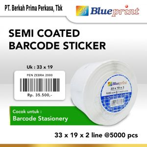 "Sticker Label Sticker label Barcode 33x19mm 2 Line Semi Coated BLUEPRINT Core 1"" isi 5000 Pcs  1 bp_scs33192_slide_1"