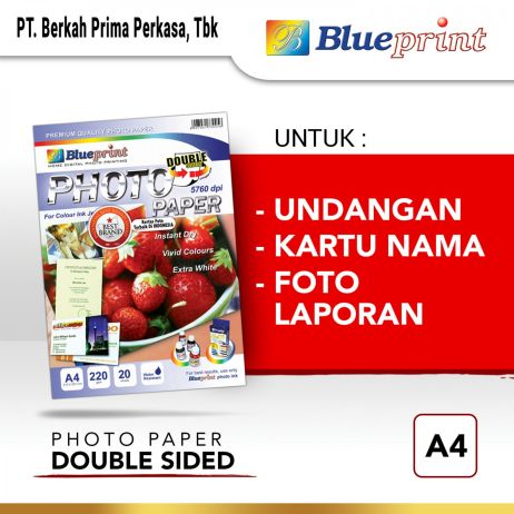 Kertas Foto Kertas Foto  Double Sided Photo Paper BLUEPRINT A4 220 gsm photo papaer double sided a4 220gsm
