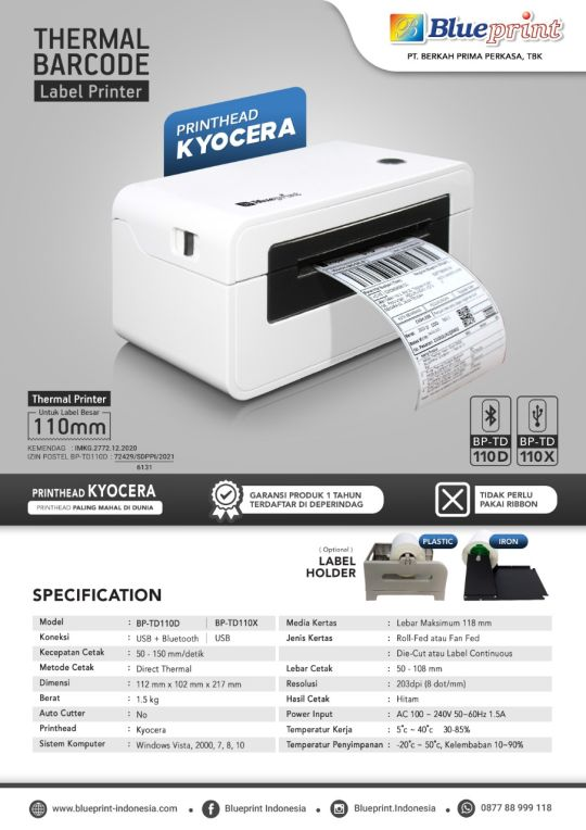 Printer Barcode Thermal / Printer Label Resi BLUEPRINT BP-TD110D/X
